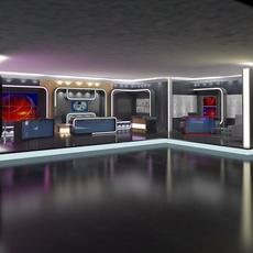 Virtual TV Studio News Set 16 3D Model