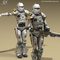Sci-fi female armoured soldier 3D Model