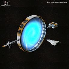 Stargate with sci-fi shuttle 3D Model