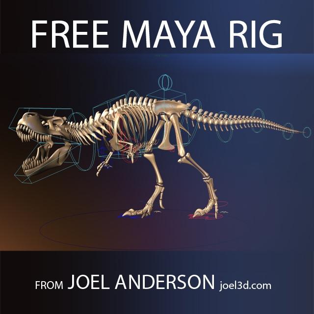 T rex Skeleton from Joel Anderson for Maya