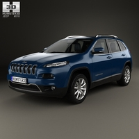 Jeep Cherokee Limited with HQ interior 2014 3D Model