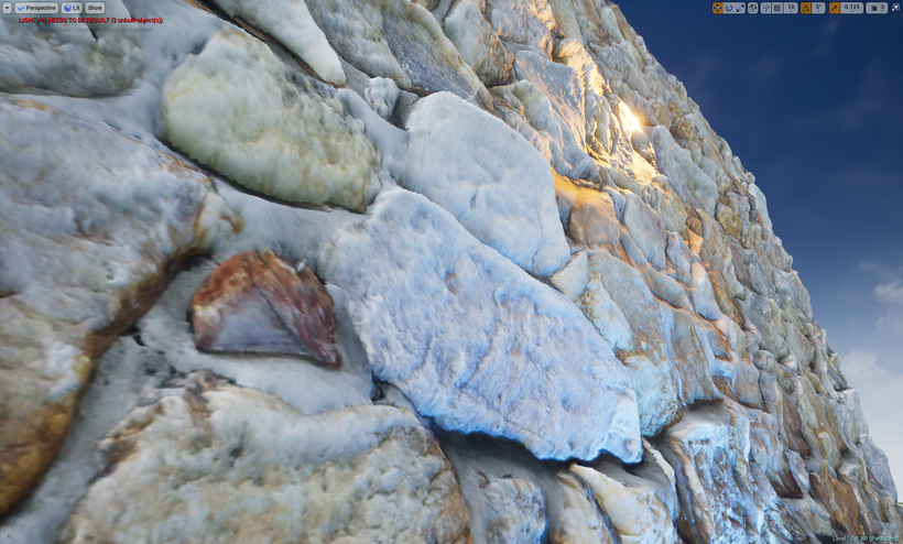Unreal Engine 4 Tessellated Rock Wall with LOD Advanced Material