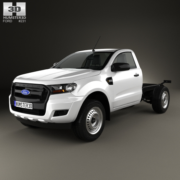 Ford Ranger Single Cab Chassis XL 2015 3D Model