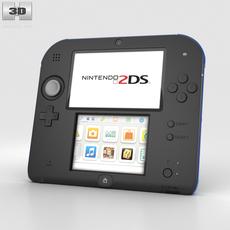 Nintendo 2DS Black + Blue 3D Model