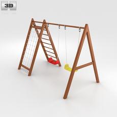 Wooden Swing Set 3D Model