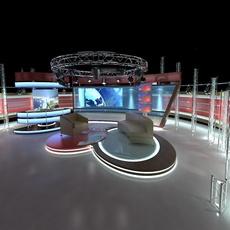 Virtual TV Studio Chat Set 1 3D Model