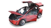 Tesla Model X Red with interior and chassis 3D Model