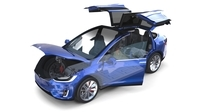 Tesla Model X Blue with interior and chassis 3D Model