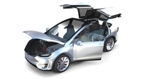 Tesla Model X Silver with interior and chassis 3D Model
