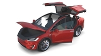 Tesla Model X Red with interior 3D Model