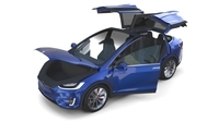 Tesla Model X Blue with interior 3D Model
