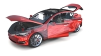 Tesla Model S 2016 Red with interior and chassis 3D Model