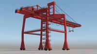 Big Red Crane of Ports 3D Model