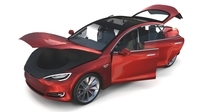 Tesla Model S 2016 Red with interior 3D Model