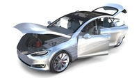 Tesla Model S 2016 Silver with interior and chassis model 3D Model