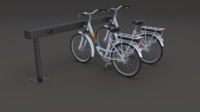 Electric City Bicycle and Station 3D Model