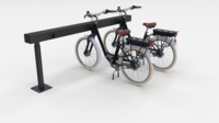 Electric City Bicycle and Station Black 3D Model