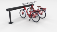 Electric City Bicycle and Station Red 3D Model