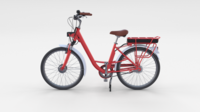 Electric City Bicycle Red 3D Model