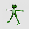 Green cartoon frog 3D Model