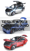 2017 Tesla S/X/3 Collection w chassis and interior 3D Model