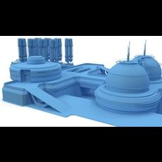 Sci-fi gas storage base 3D Model