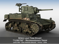 M3A1 Light Tank Stuart - 156700 3D Model