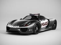 Porsche 918 Spyder Police (Lowpoly) 3D Model