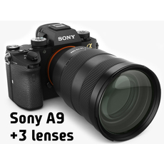 Sony Alpha 9 with three lenses 3D Model