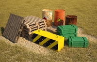 Low poly models for games, barrels, pallets, military crates, concrete block. 3D Model