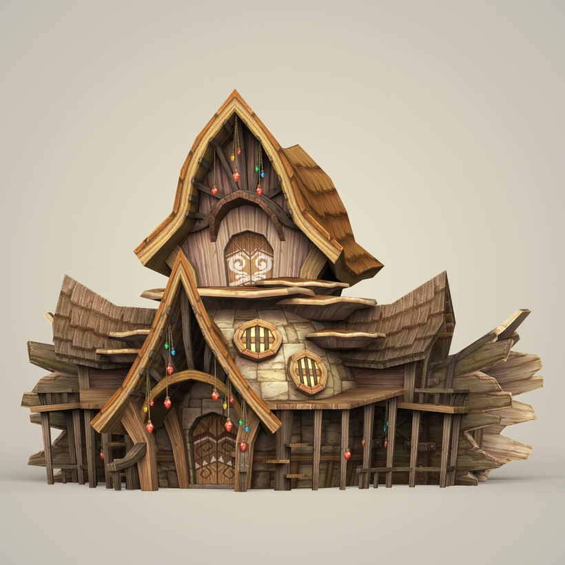 Game Ready Fantasy Wooden Hut 3D Model