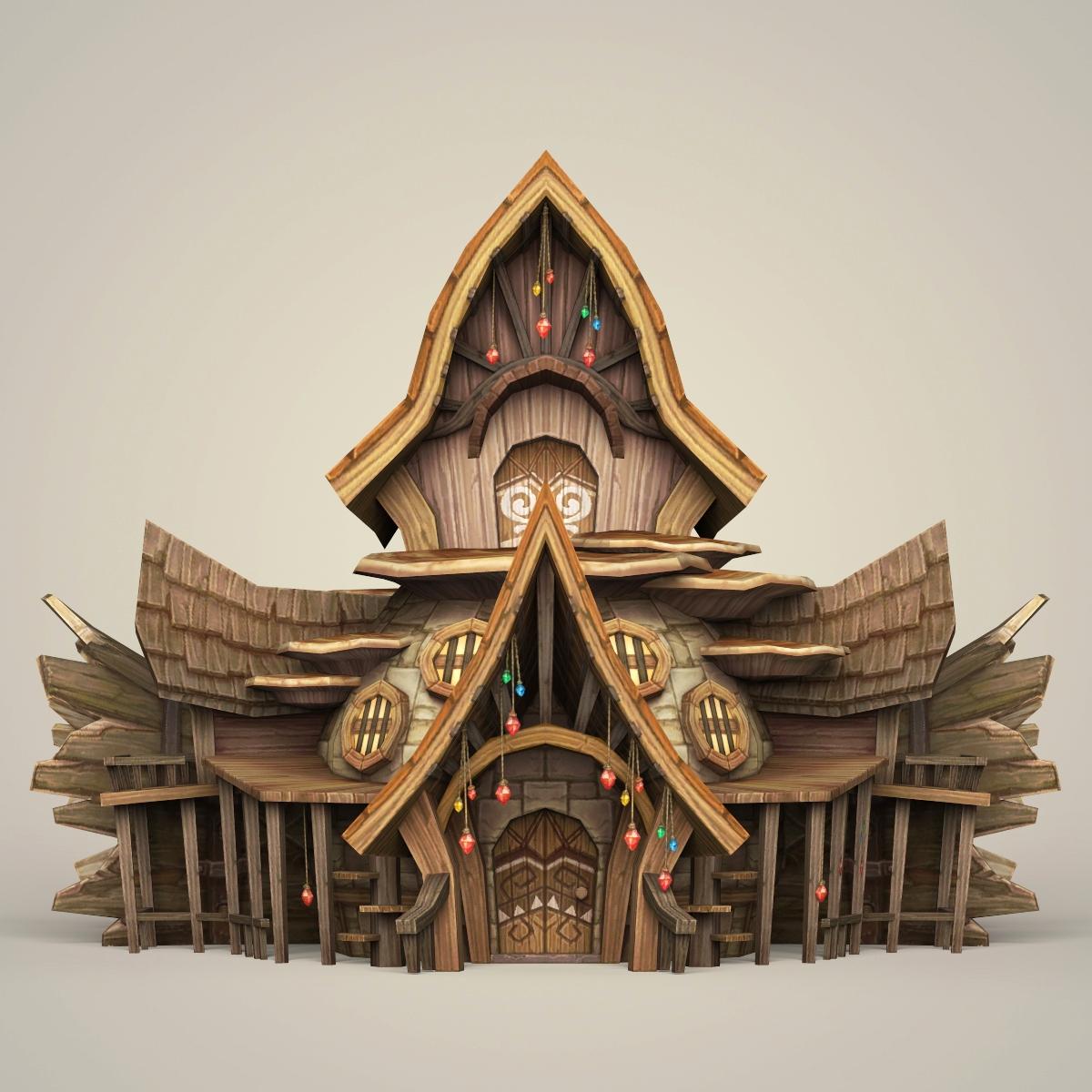 Color Hut Textures: Game Ready Fantasy Wooden Hut 3D Model
