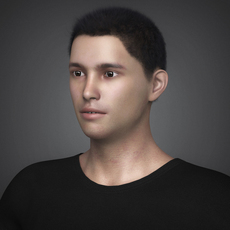 Photorealistic Young Handsome Man with Black Tshirt, Jeans, Shoe and Black Hair 3D Model