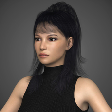 Photorealistic Young Beautiful Girl with Black Top, Blue Jeans, Leather Sandal and Black Hair 3D Model