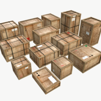 Old Wooden Cargo Crates PBR 3D Model