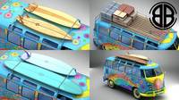 Volkswagen T1 Samba 1963 Hippie Accessories 3D Model