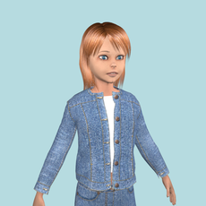 Teenage girl in jeans clothes 3D Model