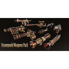 Steampunk Weapons Pack 3D Model