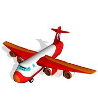 Cartoon Style Cargo Plane 3D Model