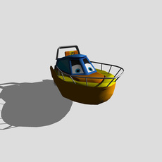 Cartoon Style Speedboat 3D Model