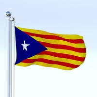 Animated Catalonia Flag 3D Model