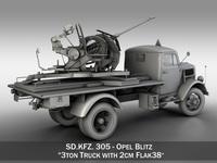 Opel Blitz with 2cm Flak 38 3D Model