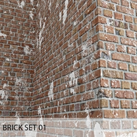 BRICK set 01 (corona render) 3D Model