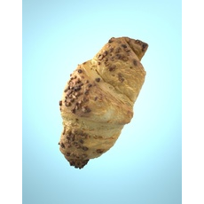 Photorealistic Delicious Chocolate Croissant 3D Model