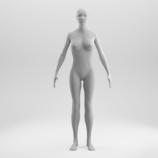 Rigged and Animated Female Base Mesh 3D Model