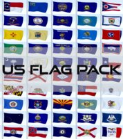 Animated US Flag Pack 3D Model