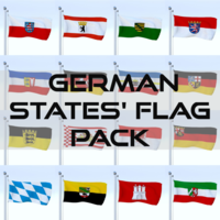 Animated German Flag Pack 3D Model