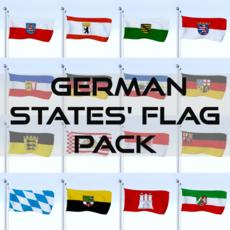 Animated German Flag Pack 3D Model