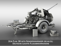 2cm Flak 38 with SD.AH. 51 - Trailer 3D Model