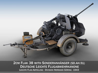 2cm Flak 38 with SD.AH 51 - Trailer - DHG 3D Model